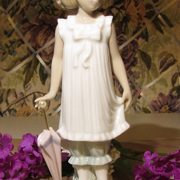 Lladro Vintage April Showers Figurine NAO by Lladro Girl with Parasol