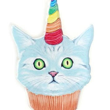 Birthday Cupcake Cat Brooch Pin MA07 Pet Kitty Rainbow Happy BDay Hat Fashion Jewelry