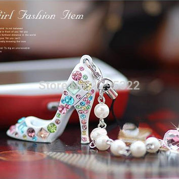 5PCS  Fashion Bling Crystal Diamond High Heels Shoe KeyChain Phone Straps knL