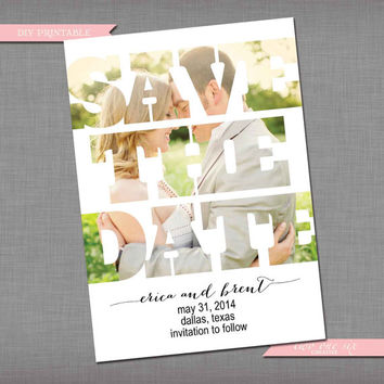 Simple Photo Background Save the Date - Customized Bridal/Engagement/Save the Date Invitation -DIY Printable