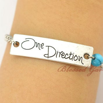 1D bracelet, turquoise bracelet,one direction bracelet, turquoise bead,friendship bracelet,crazy with 1D,blessedgarden