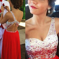 One Shoulder Red Prom Dresses One Shoulder Evening Dress