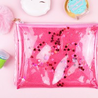 Glitter Confetti Clutch Toiletry Bag (Pink)