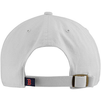 MLB Boston Red Sox Men's '47 Brand White Clean Up Garment Washed Adjustable Cap / Hat (OSFA)