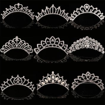 HOT Sale Charm Wedding Bridal Bridesmaid Tiara Crown Headband Heart Flower Girls Love Crystal Rhinestone Party Jewelry 12 styles