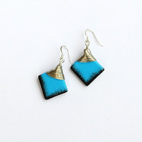 Black and blue earrings. Wirewrapped square blue beads. Bright blue dangle earrings.