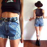 Bleached Lace Print High Waisted Denim Cut Off Jean Shorts 29