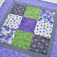 Quilted Centerpiece Table Topper  Reversible Runner Home Decor Floral Accent Purple Green Lavender Housewarming Decor