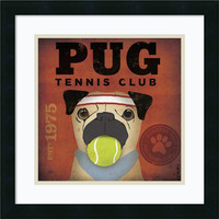 0-010834>Pug Tennis Club Framed Print by Stephen Fowler Satin Black
