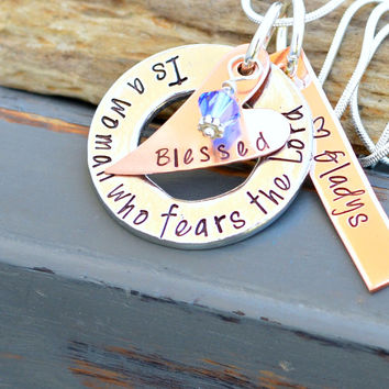 Blessed is a woman who fears the Lord - Unique Necklaces - Gifts for Grandma - Gift for mom with kids name on it - handmade necklace - mom