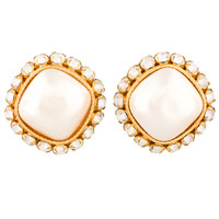 Dominique Aurientis Large Pearl Clip Earrings