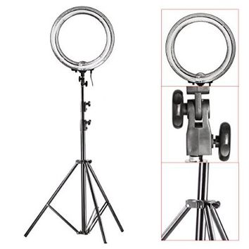 "Neewer® Camera Photo/Video Ring Flash Light Kit, includes (1)18""/ 48 cm Outer 14""/35 cm Inner 600W 5500K Ring Fluorescent Flash Light +(1)PRO 9 Feet / 260cm Heavy Duty Aluminum Alloy Photography Photo Studio Light Stands"