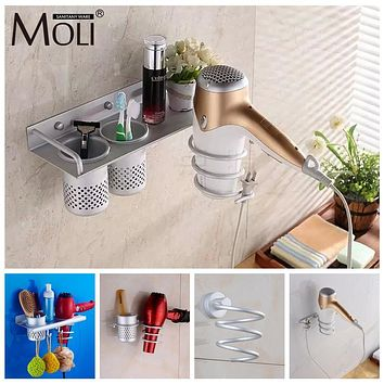 Multi-function Bathroom Hair Dryer Holder Wall Mounted Rack Space Aluminum Shelf Storage Organizer