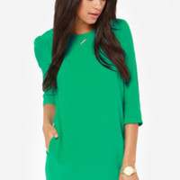 Another Night Green Shift Dress