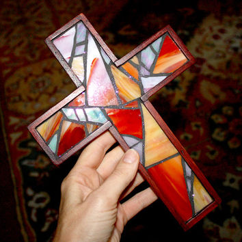 Rustic Stained Glass Wall Cross, Red Stained Glass Wall Cross, Rustic Wooden Small Hanging Cross