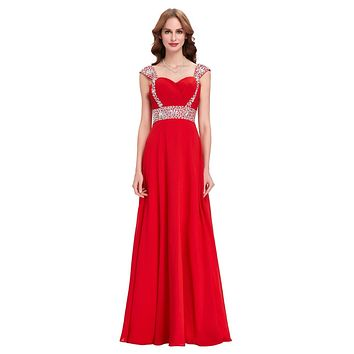 Cheap Long Bridesmaid Dresses Cap Sleeve Crystal Beaded Royal Blue Red Champagne Green Bridesmaid Dress for Wedding Party 4446