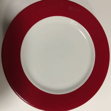 Crate and Barrell Monno Red Wide Band Smooth 4pc. Bangladesh Dinner Plates 11""
