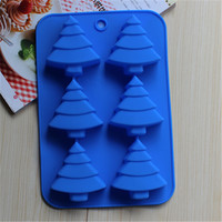 Christmas Series 6 Holes Christmas tree Lollipop Molds Silicone Cake Chocolate Cookie Mould DIY Christmas Silicone Mold CL014