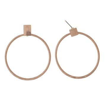 Rose Gold Stud Circle Hoop Earrings