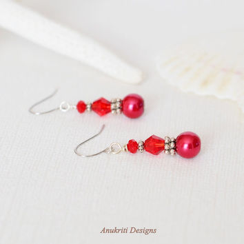 Red Pearl Dangle Earrings - Hypoallergenic Earrings - Beaded Earrings - Drop Earrings - Simple Earrings - Nickel Free Jewelry - Womens Gift