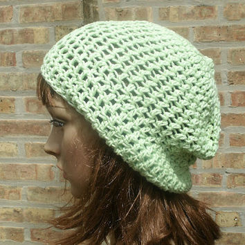 Ready to Ship - Slouchy Hat - Slouchy Beanie - The Eden in Pistachio Cotton - Womens Hat - Mens Hat - Accessories