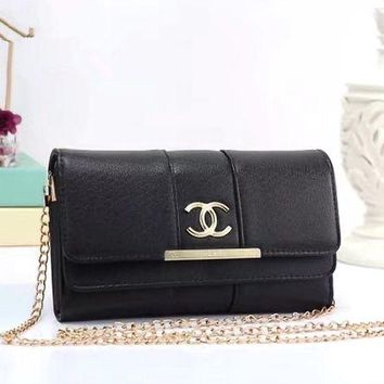 ONETOW Chanel' Women Simple Fashion Solid Color Double Layer Flip Metal Chain Single Shoulder Messenger Bag Clutch