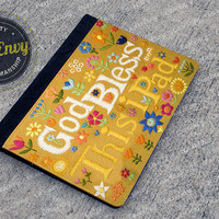 Faux Needlepoint 'God Bless This iPad' iPad 2/3/4 Folio Case