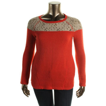 Sanctuary Womens Knit Lace Crewneck Sweater