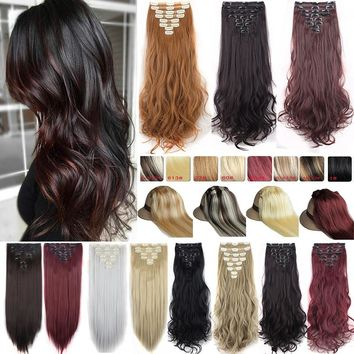 24Inch Double Weft Hair Extensions Full Head Clip in Hair Extensions Curly Wave Hair as Human Hair