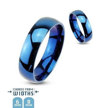 Oceanic -  Glossy polished his and hers dome ring in blue IP stainless steel