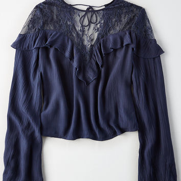 AEO Ruffled Lace Crop Top, Navy