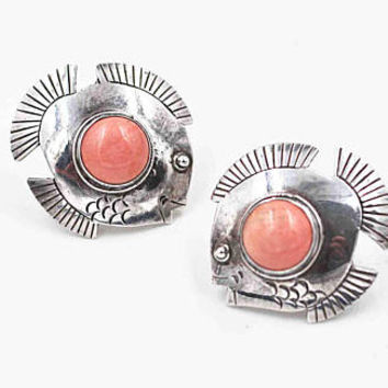 Vintage Sterling Silver & Coral Fish Pierced Earrings, Angelfish, Pink Sponge Coral, 3D, Etched, Domed, Sea, Fabulous! #c338