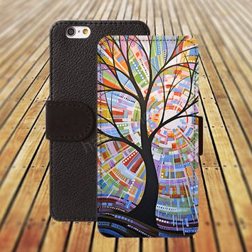 iphone 5 5s case tree watercolor life abstract iphone 4/4s iPhone 6 6 Plus iphone 5C Wallet Case,iPhone 5 Case,Cover,Cases colorful pattern L258