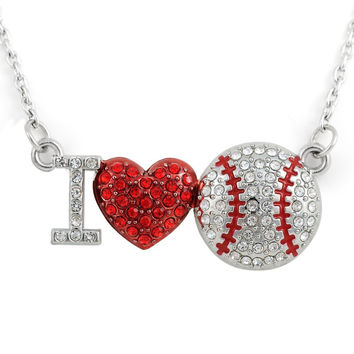 I Love Baseball Softball Bling Crystal Pendant Jewelry Different Styles