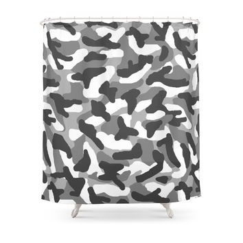 Society6 Grey Gray Camo Camouflage Shower Curtain