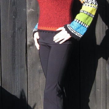 Boho gypsy knit sweater peruvian style jacquard handknitted unique warm wool tweed red multicolor women pull jumper