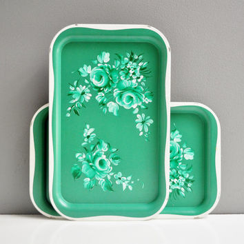 Mid-Century Mint Green Floral Serving Tray