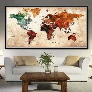 Antique vintage giant World map Retro poster version - L73
