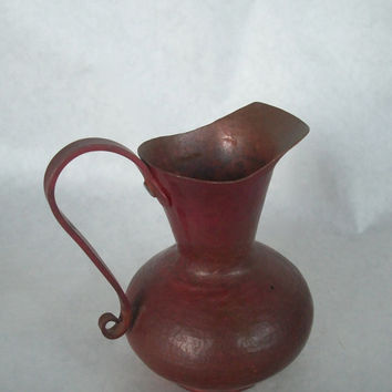 Vintage Copper Small Pitcher 1980s Measures 4.5 Inches Tall.