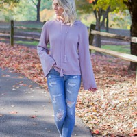 Violet Rib Hooded Pullover Sweater