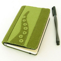 Green Tentacle Moleskine Notebook Cover Combo - 100% Wool Felt - Refillable - Fits Moleskine Classic 3.5 x 5.5 inch Pocket Notebooks