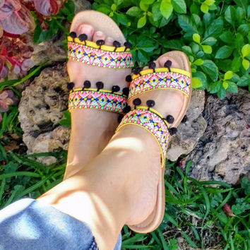 Boho Ethnic Tribal Sandals Yellow with Black Pompoms