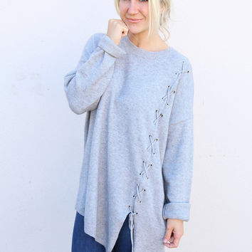 Side Lace-up Grey Sweater