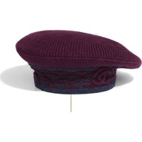 Cashmere Dark Red & Navy Blue Beret | CHANEL