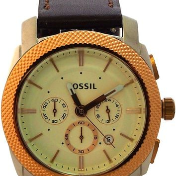 fossil - fs5040p machine chronograph brown leather watch
