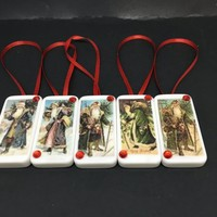 Ornaments Santa Walking Domino Handmade Vintage Christmas Set of 5