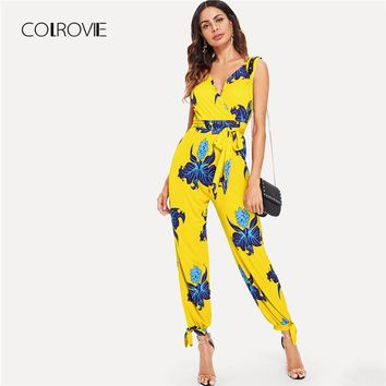 COLROVIE Ginger Sexy V Neck Backless Wrap Front Floral Women Jumpsuit 2018 Autumn Sleeveless OL Jumpsuits Overalls For Female
