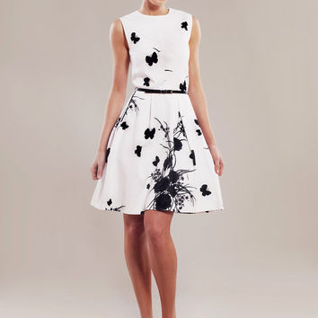 Heavy stretch-cotton black-white print dress