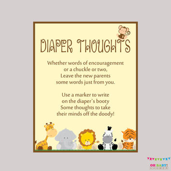 Safari Baby Shower Diaper Thoughts Game Baby Shower - Printable Download - Write on Diaper Message Game, Words for Wee Hours - BS0001-N