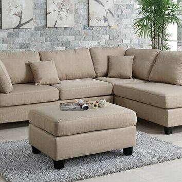 Poundex F7605 3 pc martinique collection sand polyfiber fabric upholstered sectional sofa with reversible chaise and ottoman